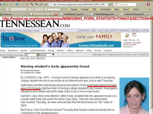 Site de notícias informando que o corpo foi encontrado.